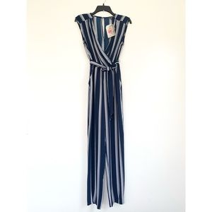NWT Blue And White Striped Jumpsuit Size XS
